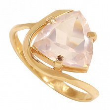 Золотое кольцо Шанхай с розовым кварцем и тремя крапанами