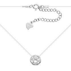 Серебряное колье на силиконовой нити Риола с фианитом, р45 000033988