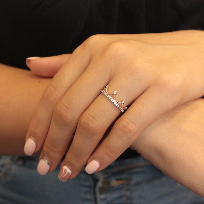 Золотое кольцо-корона Отличительный знак в красном цвете с фианитами 000080563