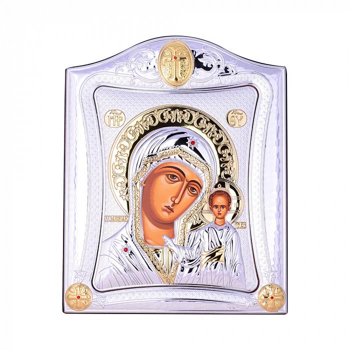 Посеребренная икона Богородица Казанская на подставке 000131794 000131794