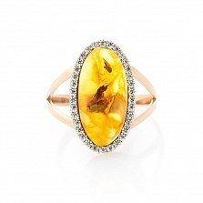 Золотое кольцо Магали с янтарем и фианитами