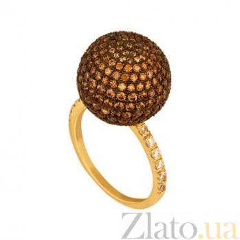 Кольцо из желтого золота Сфера с фианитами VLT--Т1135