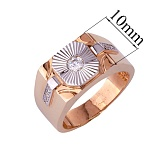 Золотое кольцо-печатка с фианитами Гариб