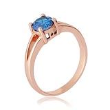 Позолоченное кольцо из серебра с голубым фианитом Мелита