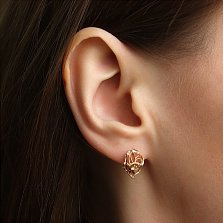 Золотые серьги Вечный цветок с алмазной гранью