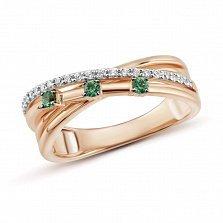 Кольцо Паула из золота с бриллиантами и изумрудами