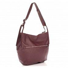Кожаная сумка на каждый день Genuine Leather 8695 бордового цвета на молнии с регулируемым ремнем