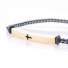 Браслет из желтого золота и металлизированного шнура Cross