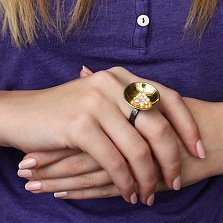 Серебряный перстень Гнёздышко с жемчугом, покрытый чернением и позолотой