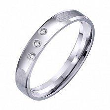 Обручальное кольцо из белого золота Мир чувств с фианитами