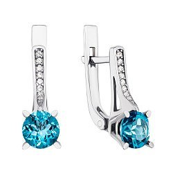 Серебряные серьги с темно-голубыми топазами и фианитами 000138545