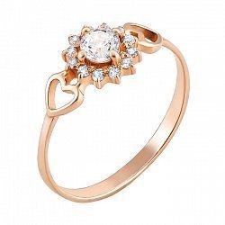 Кольцо из красного золота с фианитами 000061642