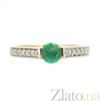 Золотое кольцо в красном цвете с изумрудом и бриллиантами Сэверия ZMX--RE-6567_K