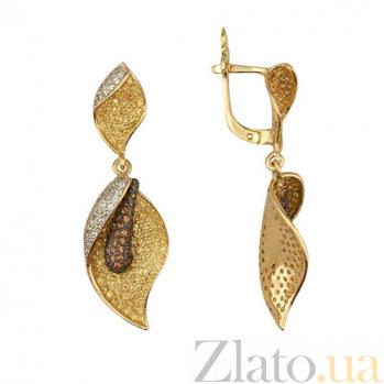 Серьги-подвески из желтого золота с цирконием Камелия VLT--ТТ290-1