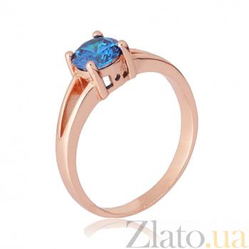 Серебряное позолоченное кольцо Мелита с фианитом цвета лондон топаза 000028441