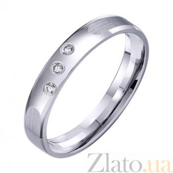 Обручальное кольцо из белого золота Мир чувств с фианитами TRF--4221328