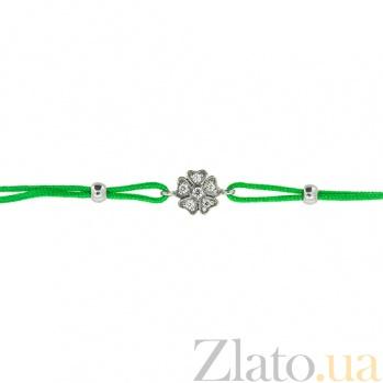 Шелковый браслет Клевер с серебряными вставками с цирконием ZMX--BCCz-00207-Ag_K