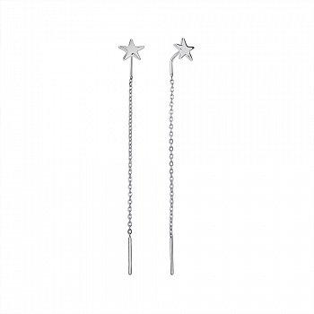 Сережки-протяжки з білого золота 000142366