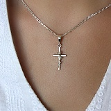 Серебряный крест с золотой вставкой Розочка