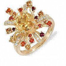 Золотое кольцо с цитрином, топазами и бриллиантами Эстрелла