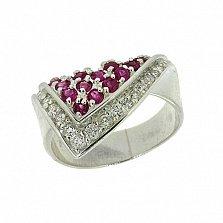Серебряное кольцо с бриллиантами и рубинами Косынка