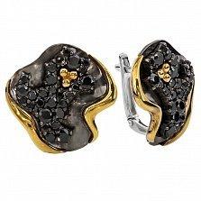 Серебряные серьги с черными фианитами и золотом Юджина