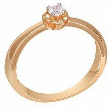 Золотое помолвочное кольцо с бриллиантом Амур
