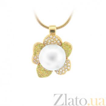 Золотое колье с жемчугом, цитринами и бриллиантами Впечатления ночи 000029513