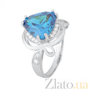 Кольцо из серебра Персис с голубым и белым фианитами 000028332