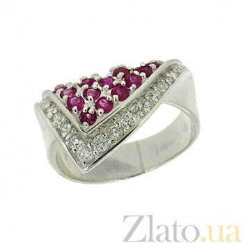 Серебряное кольцо с бриллиантами и рубинами Косынка ZMX--RDR-6005-Ag_K