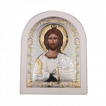 Икона Спаситель Иисус с серебром в белой рамке 000137574