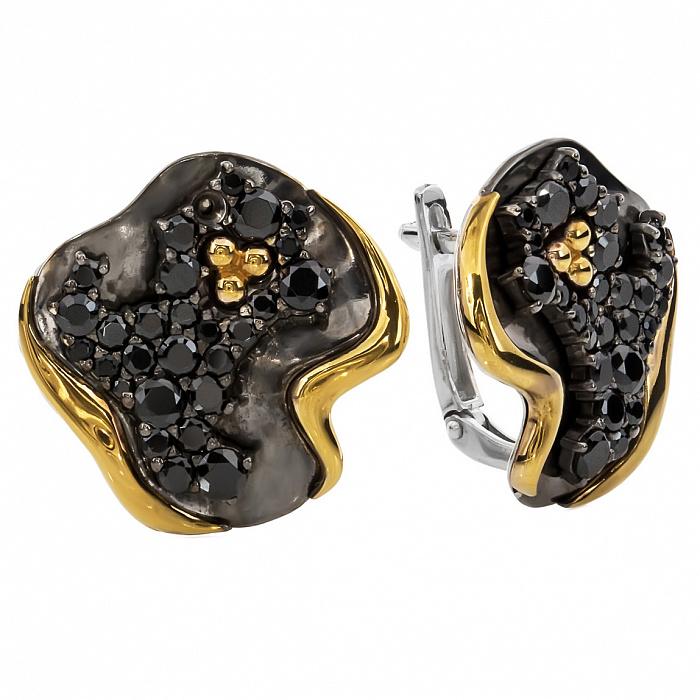 Серебряные серьги с черными фианитами и золотом Юджина 000030181