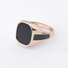 Золотое кольцо Мерлин с ониксом и фианитами