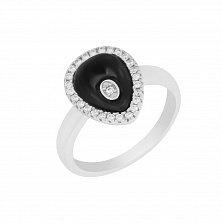 Серебряное кольцо Черная капля с керамикой и кристаллами циркония