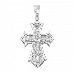 Православный серебряный крестик с молитвой 000134532