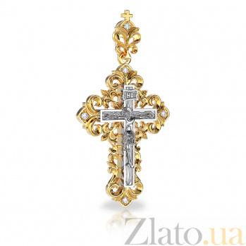 Золотой крестик Узорчатый с бриллиантами VLA--32280
