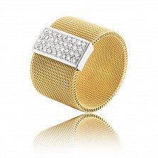 Кольцо Антигона из комбинированного золота с широкой фактурной шинкой и дорожками бриллиантов