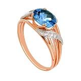 Золотое кольцо Айла с топазом лондон и фианитами