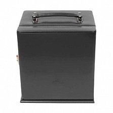 Черная шкатулка для украшений WindRose Merino с пятью ящиками и ручкой сверху