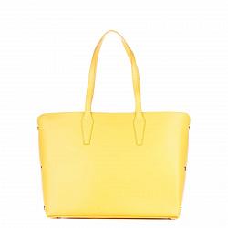 Кожаная деловая сумка Genuine Leather 1853 желтого цвета с магнитной кнопкой и заклепками по бокам
