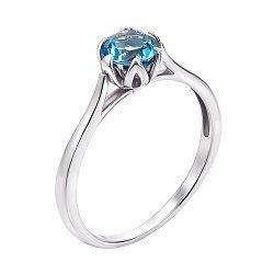 Кольцо из белого золота с топазом Swiss blue 000127132