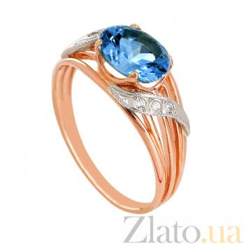 Золотое кольцо Айла с топазом лондон и фианитами VLN--112-137-1-2