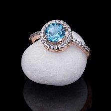 Золотое кольцо Ария с топазом и фианитами