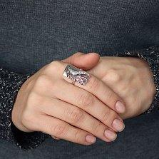 Серебряное кольцо Сад в окне с чернением и фианитами