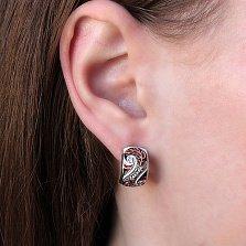 Серебряные серьги Фентези с разноцветной эмалью