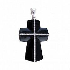Крестик из белого золота Южный с черным агатом и бриллиантами