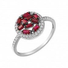 Золотое кольцо в белом цвете Мозаика с рубинами и бриллиантами