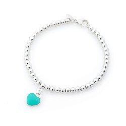 Серебряный браслет Романтическое настроение с голубой эмалью