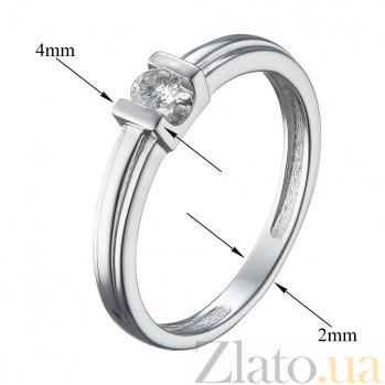 Золотое помолвочное кольцо Наяна в белом цвете с бриллиантом в декоративном касте 000079373