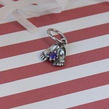 Серебряный подвес Любимые ножки с фиолетовым цирконием